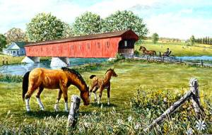 horses at bridge