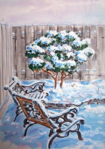 I painted this looking through Julies window to her back yard.