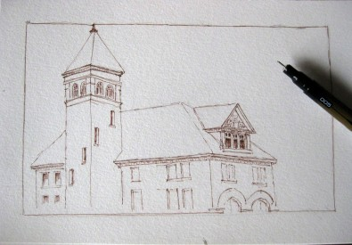 My sketch of the Fire Hall Museum in Galt