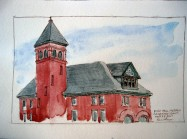 Watercoloured Fire Hall Museum in Galt