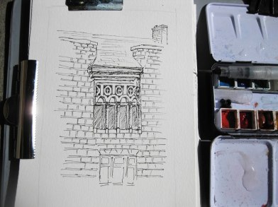 Sketch of facade in Galt